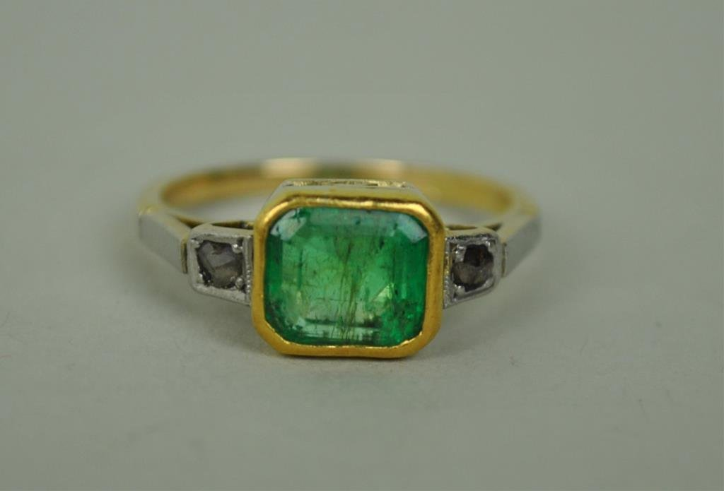 VICTORIAN EMERALD & DIAMOND RING, 2.42CT