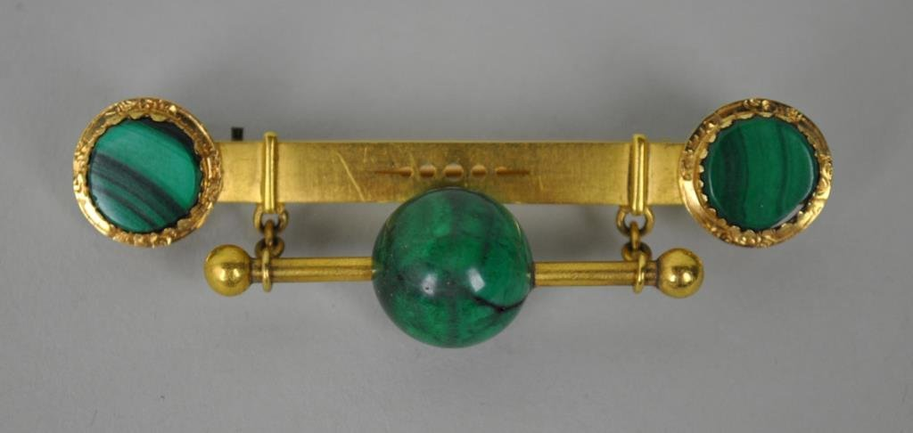ART DECO GOLD & MALACHITE DANGLE BAR BROOCH