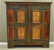 ANTIQUE PAINT DECORATED WARDROBE DATED 1743