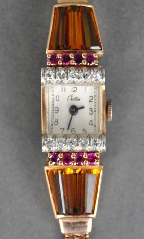 ROSE GOLD RETRO DIAMOND & RUBY BRACELET WATCH