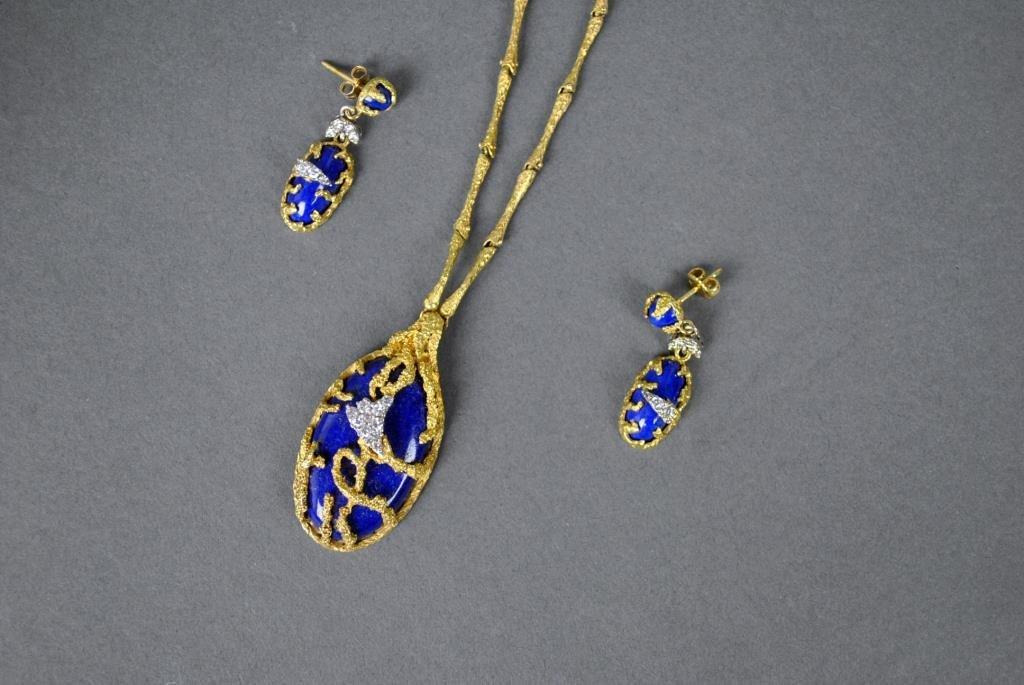 LAPIS & DIAMOND LAVALIER & EARRING SET
