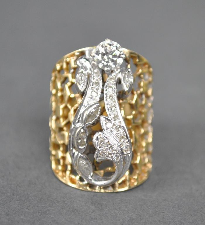 GOLD & DIAMOND FANCY RING, 0.80CTW