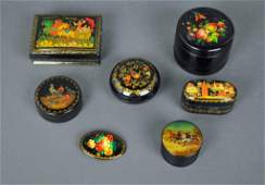 7 RUSSIAN HANDPAINTED LACQUER ITEMS