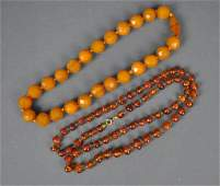 (2) AMBER BEADED NECKLACES