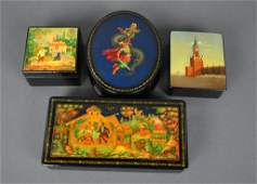 4 RUSSIAN HANDPAINTED LACQUER BOXES