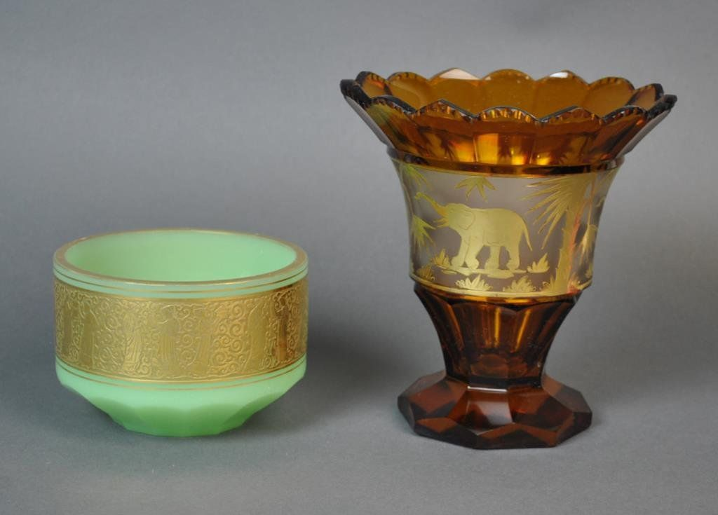 (2) ENGRAVED GOLD BAND FACETED GLASS VESSELS