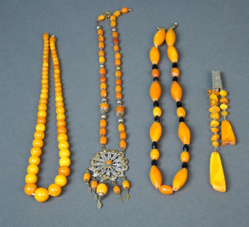 (4) PIECE VINTAGE AMBER JEWELRY GROUP