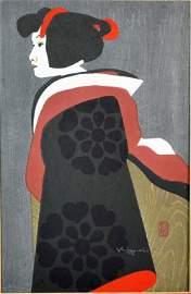 KIYOSHI SAITO WOODBLOCK PRINT - GEISHA