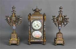 MARTI FRENCH BRONZE & CHAMPLEVE CLOCK GARNITURE