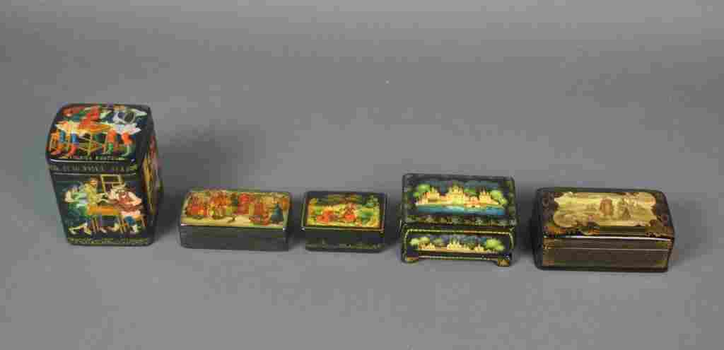 (5) RUSSIAN LACQUER BOXES