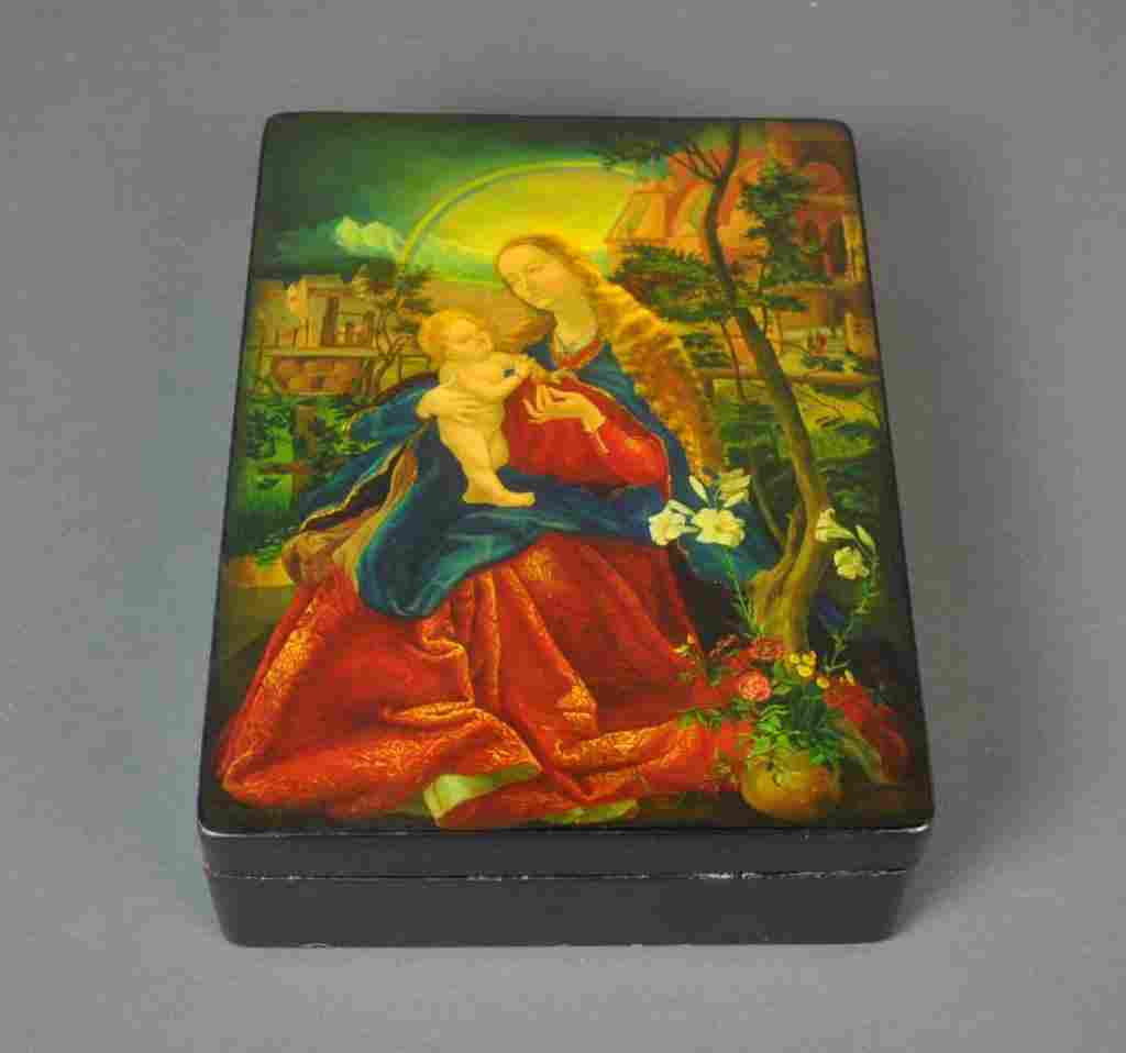 LARGE RUSSIAN LACQUER BOX - MADONNA AND CHILD