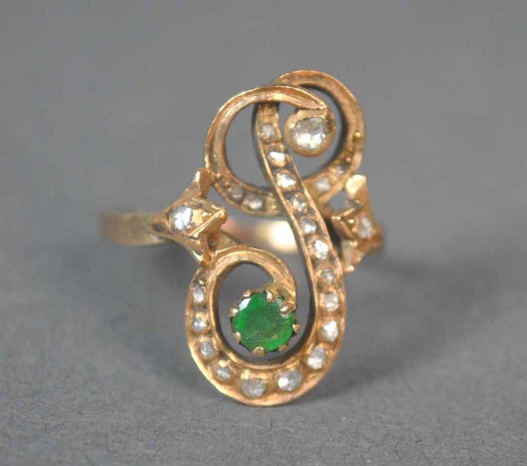 VICTORIAN DIAMOND & EMERALD FANCY RING