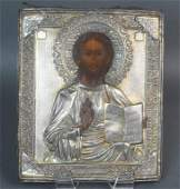 RUSSIAN SILVER ICON  CHRIST PANTOCRATOR
