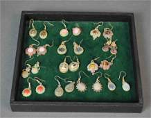 13 PAIRS CONTEMPORARY HARDSTONE PIERCED EARRINGS