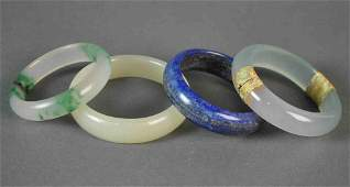 4 CONTEMPORARY CHINESE HARDSTONE BANGLES