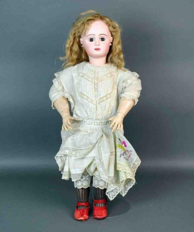 """28"""" FRENCH PARIS BEBE BISQUE HEAD DOLL"""