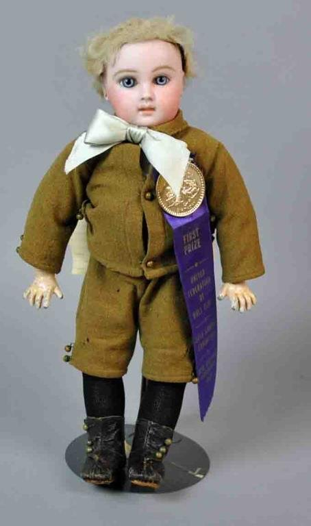 """13"""" FRENCH JUMEAU BISQUE HEAD DOLL"""