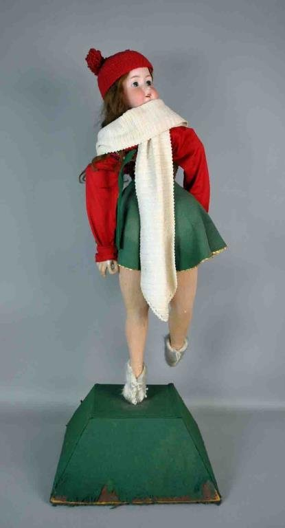 LARGE AUTOMATON DANCING BISQUE HEAD DOLL