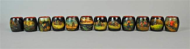 SET (12) RUSSIAN LACQUER NAPKIN RINGS