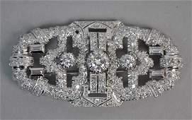 ART DECO PLATINUM  DIAMOND BROOCH 400CTW