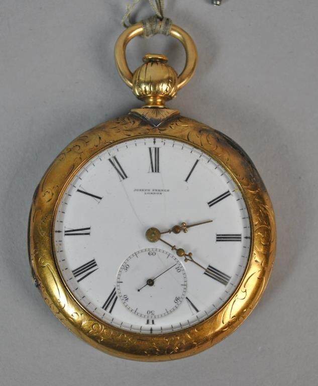GOLD POCKET WATCH & FOB, JOSEPH FRENCH LONDON