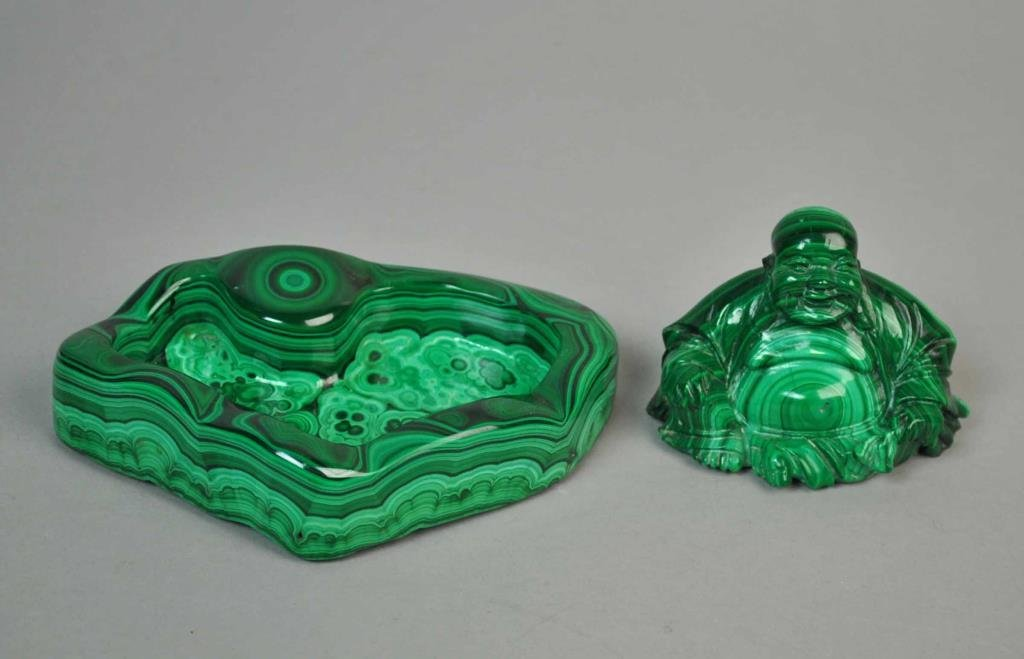 (2) CHINESE MALACHITE ITEMS
