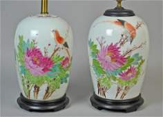 2 FAMILLE ROSE GINGER JARS FITTED AS LAMPS
