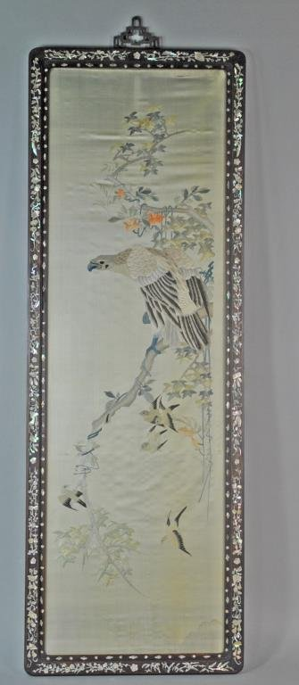 CHINESE SILK EMBROIDERY - EAGLE ON BRANCH