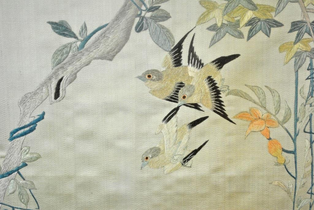 CHINESE SILK EMBROIDERY - EAGLE ON BRANCH - 2
