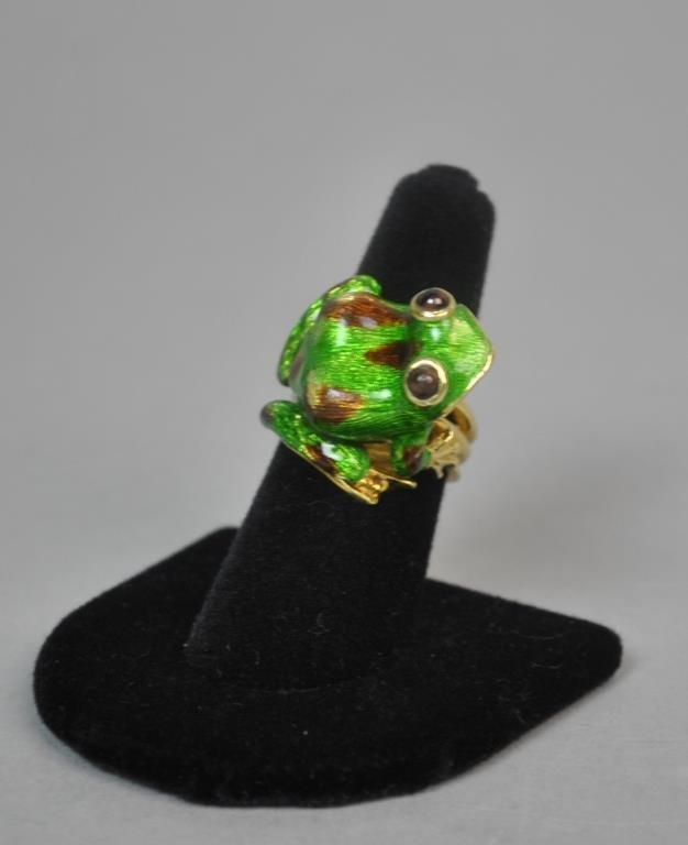 GREEN ENAMEL 18K FROG RING - 2