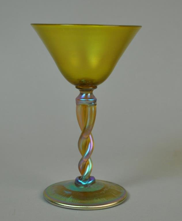 TIFFANY GOLD FAVRILE TWISTED STEM COCKTAIL GLASS