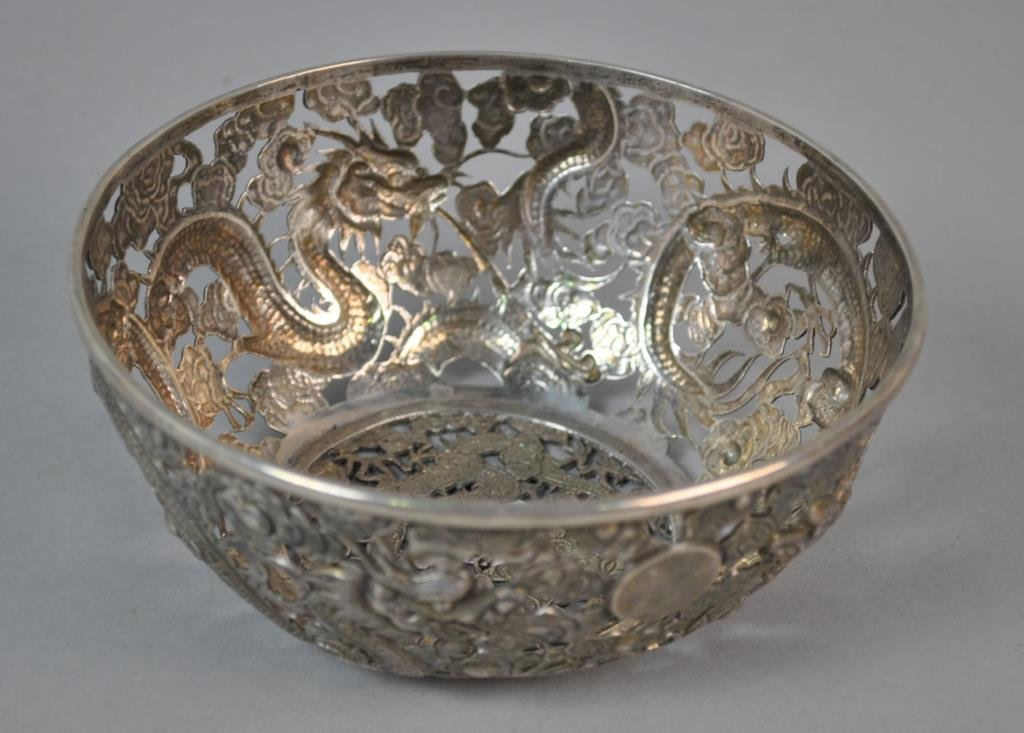 CHINESE EXPORT SILVER PIERCED BOWL