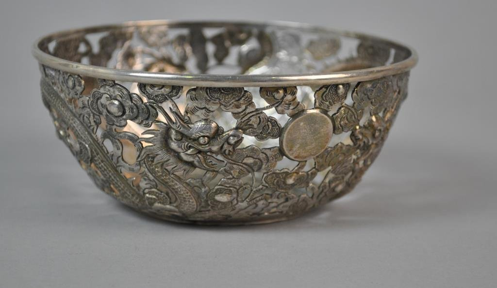 CHINESE EXPORT SILVER PIERCED BOWL - 2