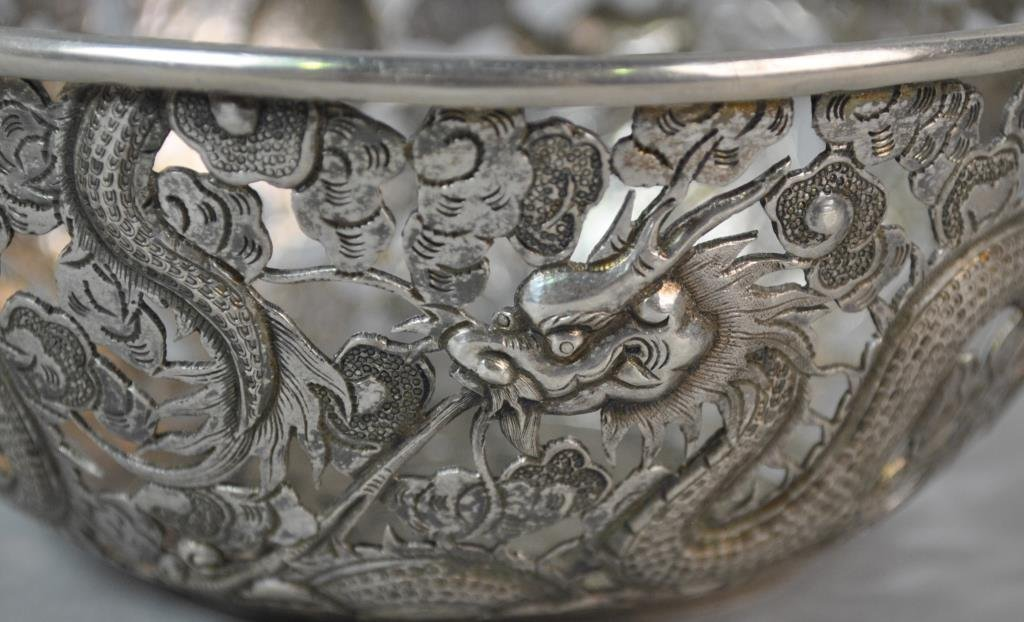 CHINESE EXPORT SILVER PIERCED BOWL - 3