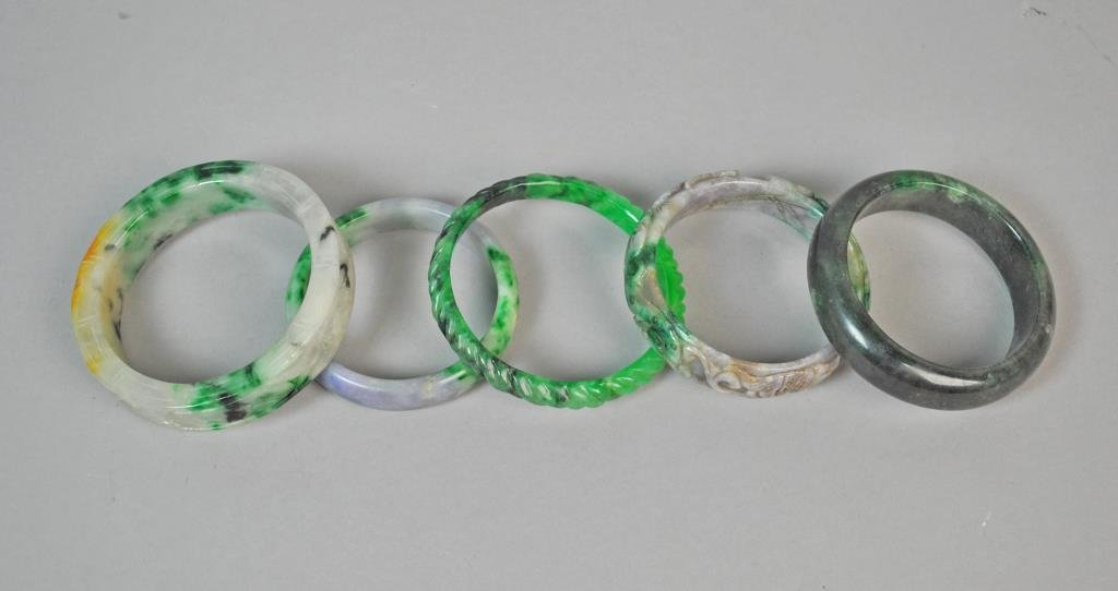 (5) CONTEMPORARY CHINESE JADE BANGLES