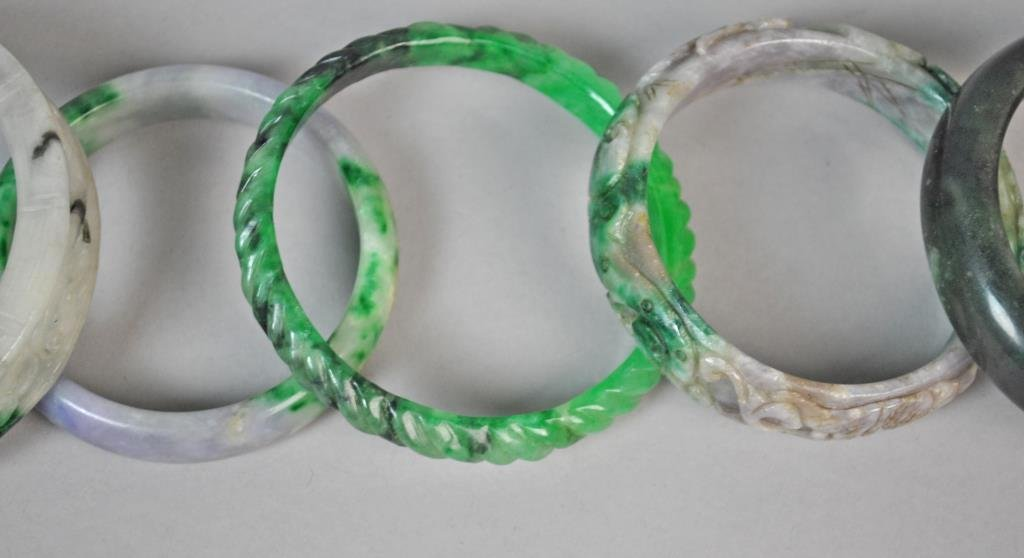 (5) CONTEMPORARY CHINESE JADE BANGLES - 2