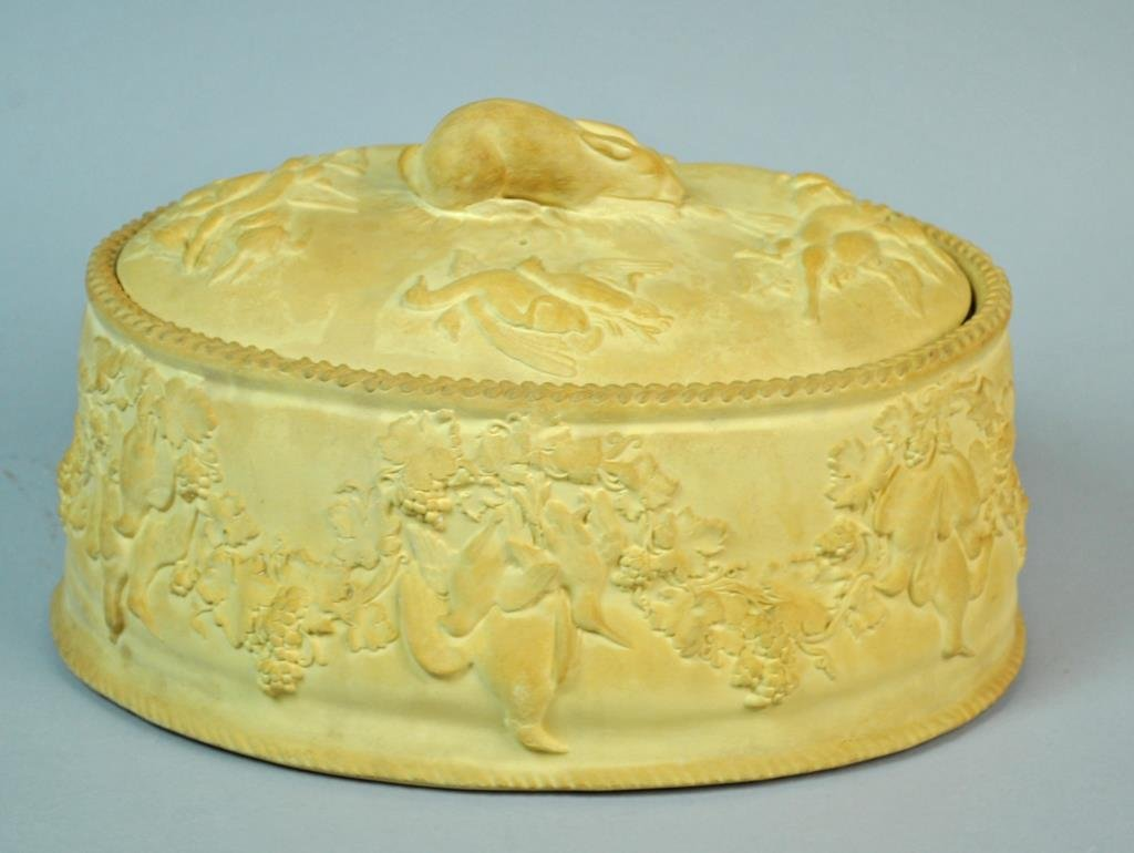 ANTIQUE WEDGWOOD CANEWARE GAME PIE DISH