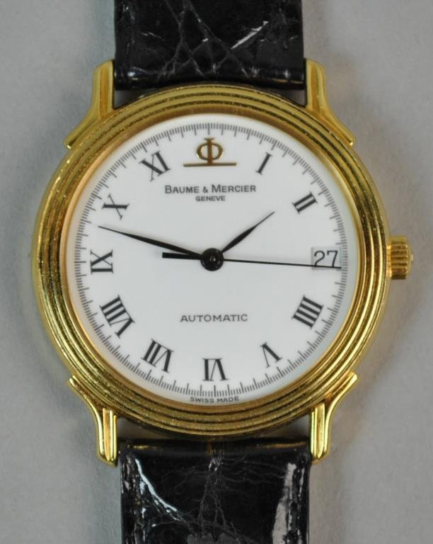 GENTS BAUME & MERCIER 18K GOLD CASE WATCH