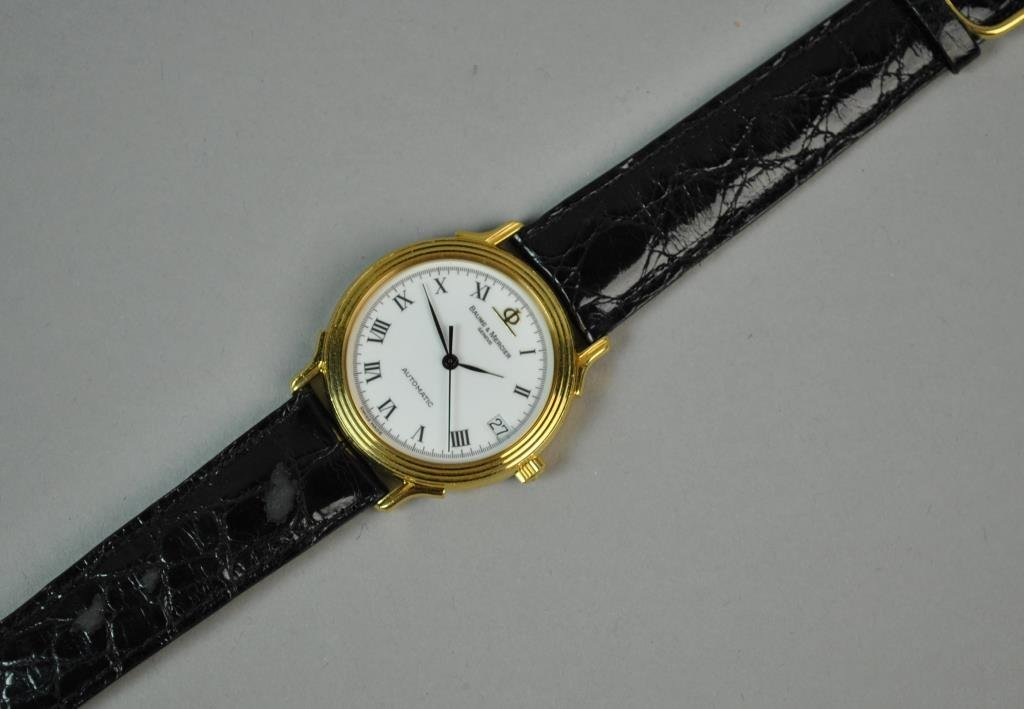 GENTS BAUME & MERCIER 18K GOLD CASE WATCH - 2