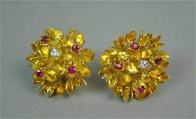 TIFFANY DIAMOND & RUBY FLORAL EARCLIPS, 0.50CTW