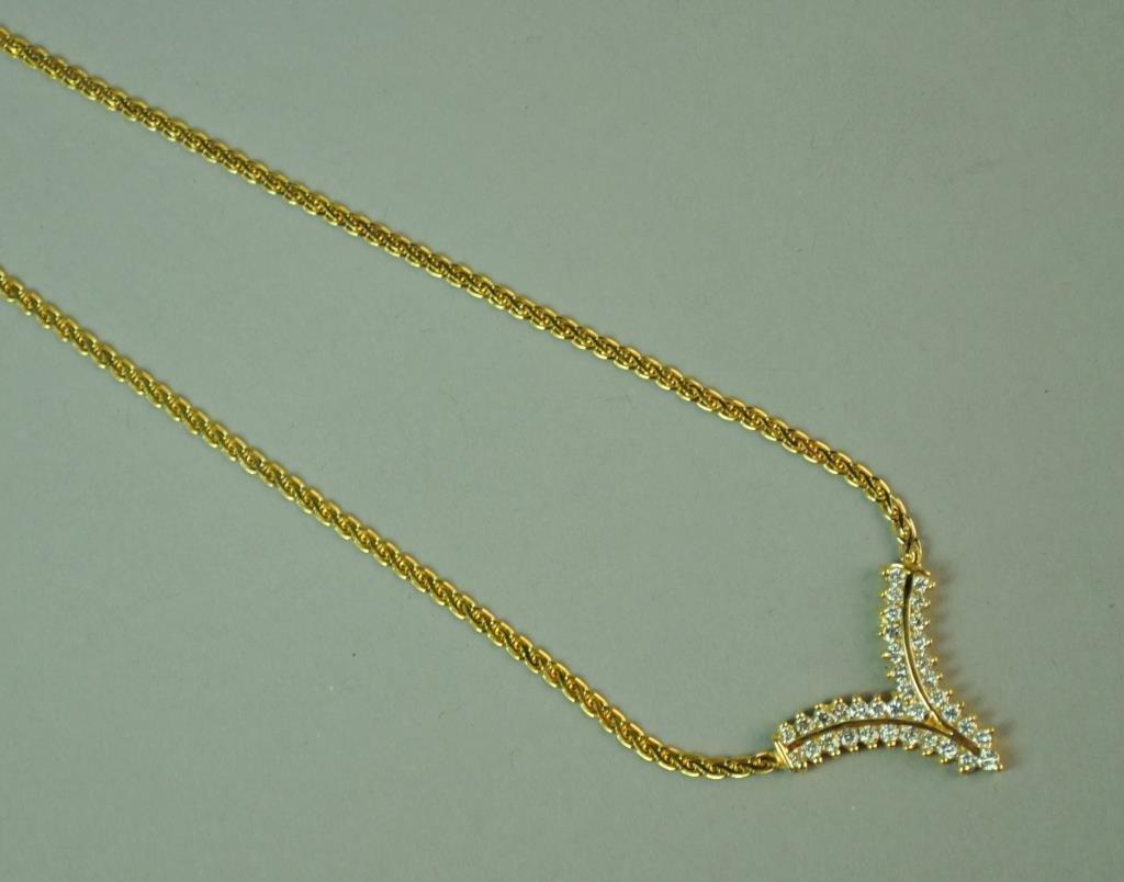 GOLD & DIAMOND CHEVRON NECKLACE, 1.08CTW - 2