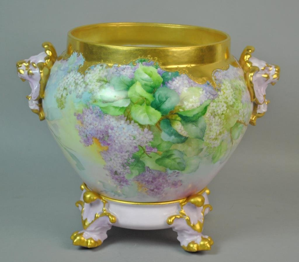 LIMOGES LILAC JARDINIERE ON STAND