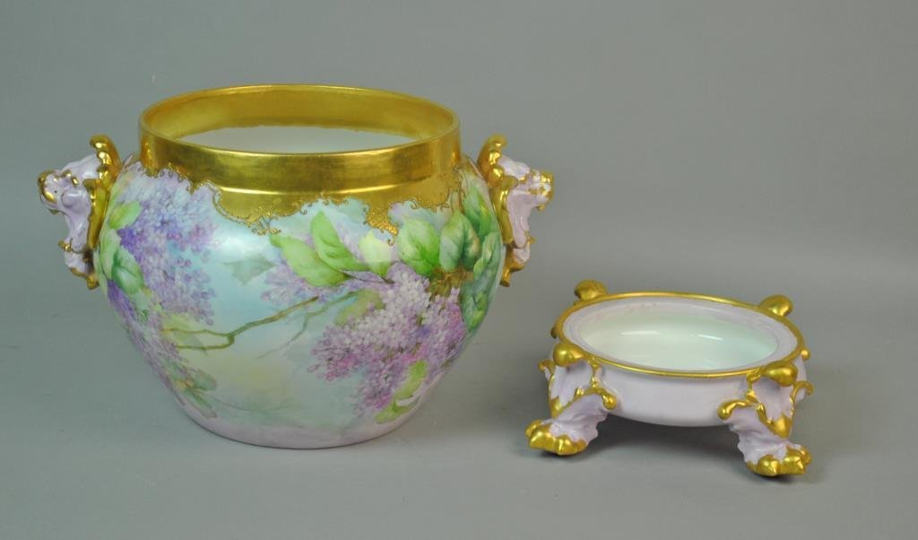 LIMOGES LILAC JARDINIERE ON STAND - 2