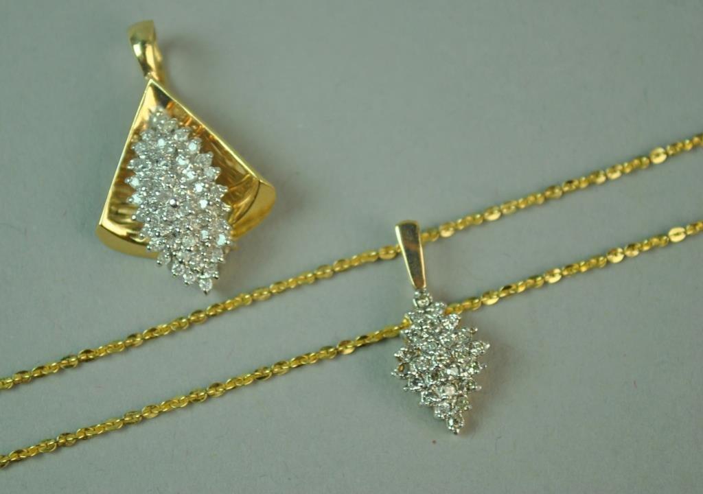 (2) DIAMOND PENDANTS WITH GOLD NECKCHAIN