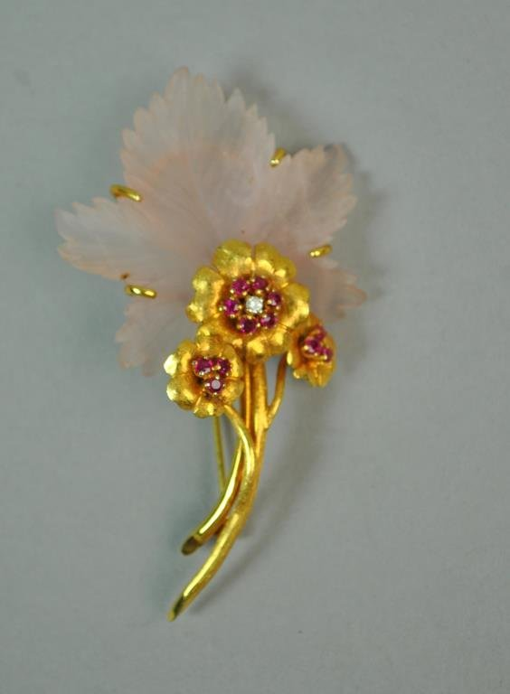 RUBY, DIAMOND & PINK CRYSTAL FLOWER BROOCH
