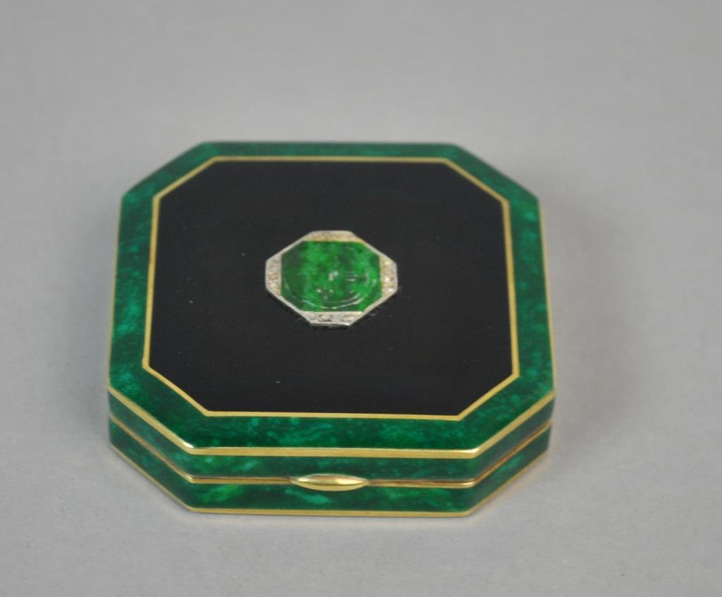 ART DECO JADE & DIAMOND ENAMEL COMPACT