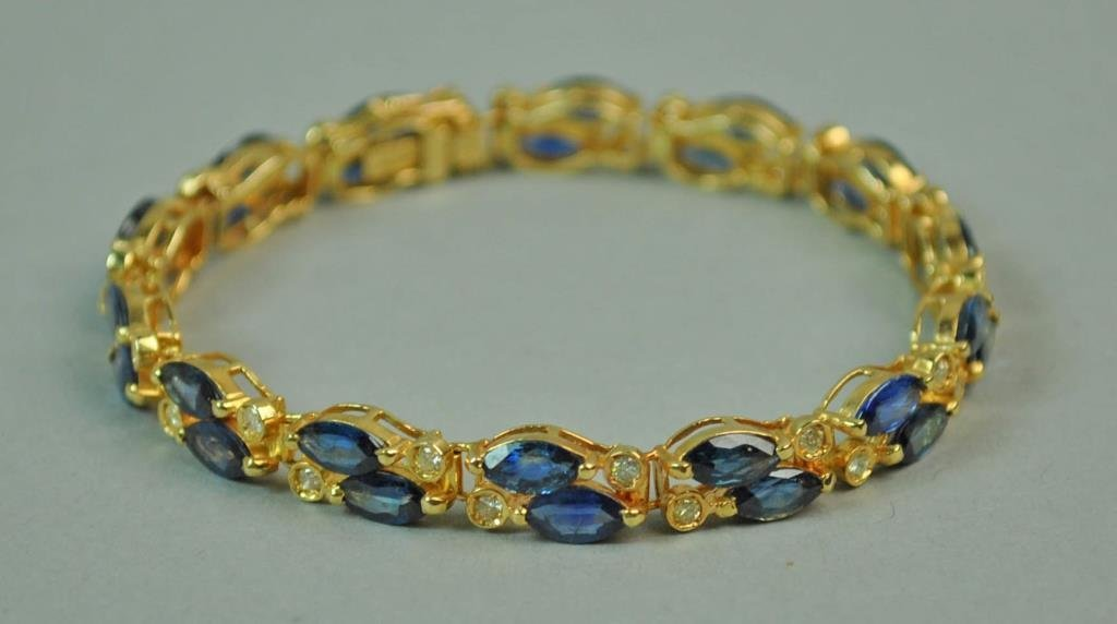 DIAMOND & BLUE STONE BRACELET