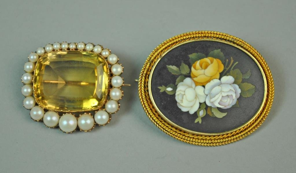 (2) GOLD BROOCHES