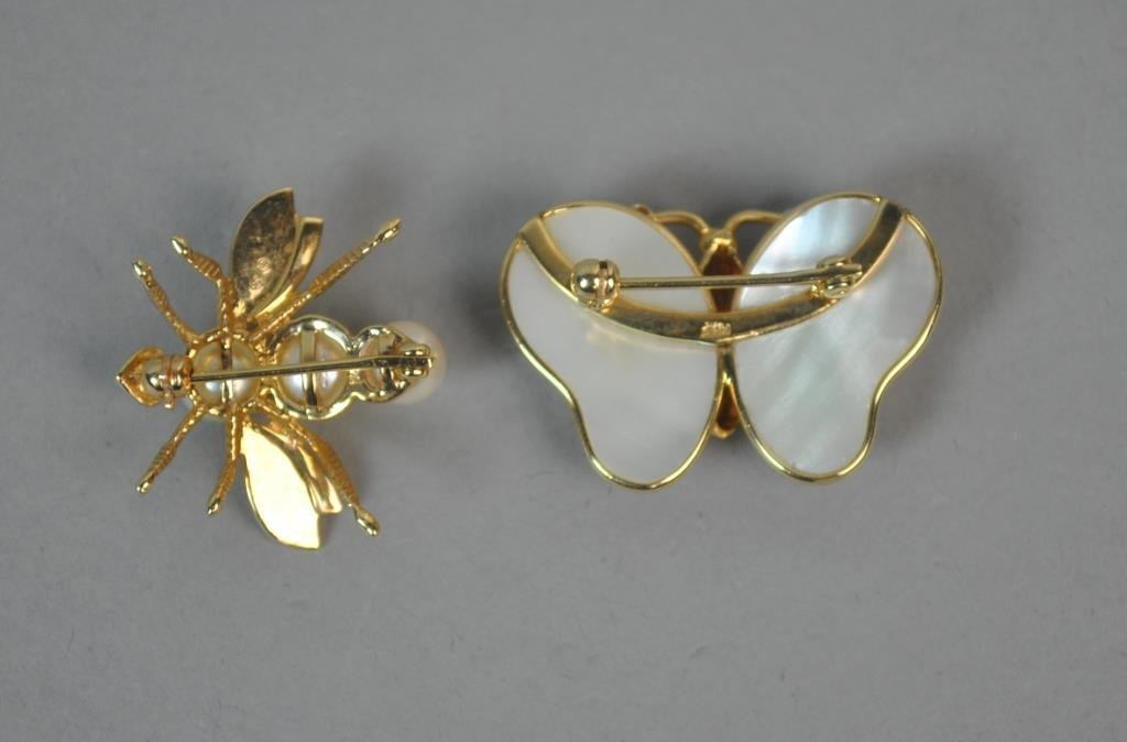 (2) GOLD & PEARL INSECT BROOCHES - 2