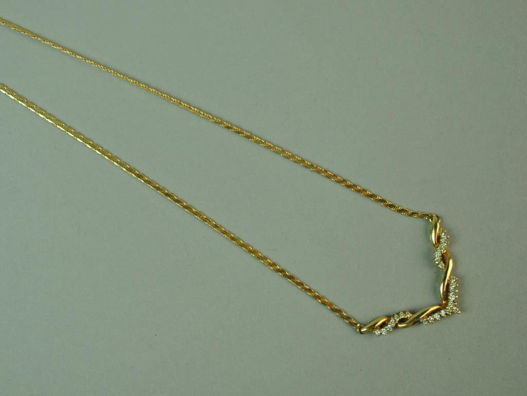 ITALIAN GOLD & DIAMOND CHEVRON NECKLACE - 2